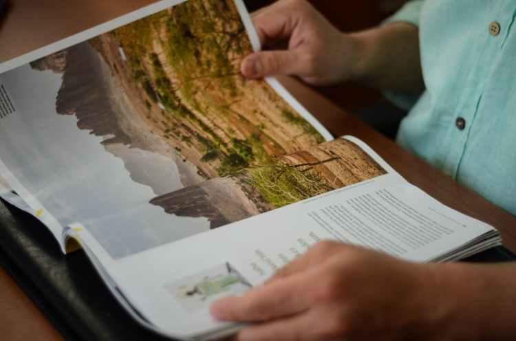 person reading magazine